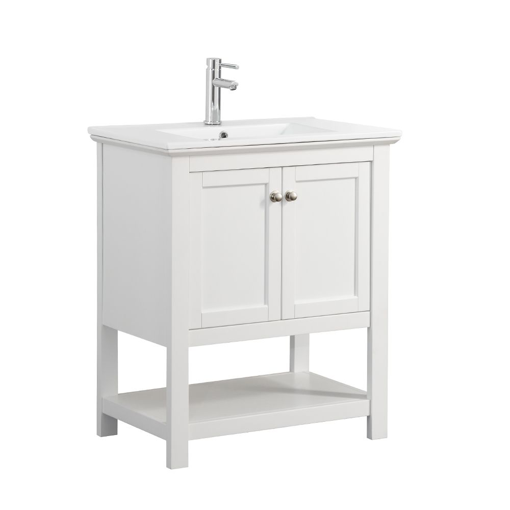 Fresca Bradford 30 in. Bathroom Vanity in White with Ceramic Vanity Top in White