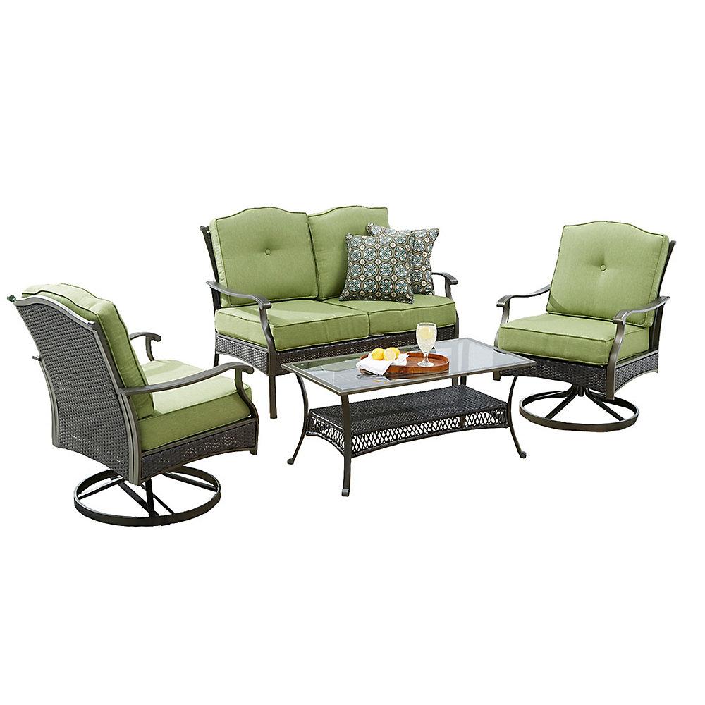 Ensemble table et chaises de jardin avec coussins Bellmere, 4 pièces