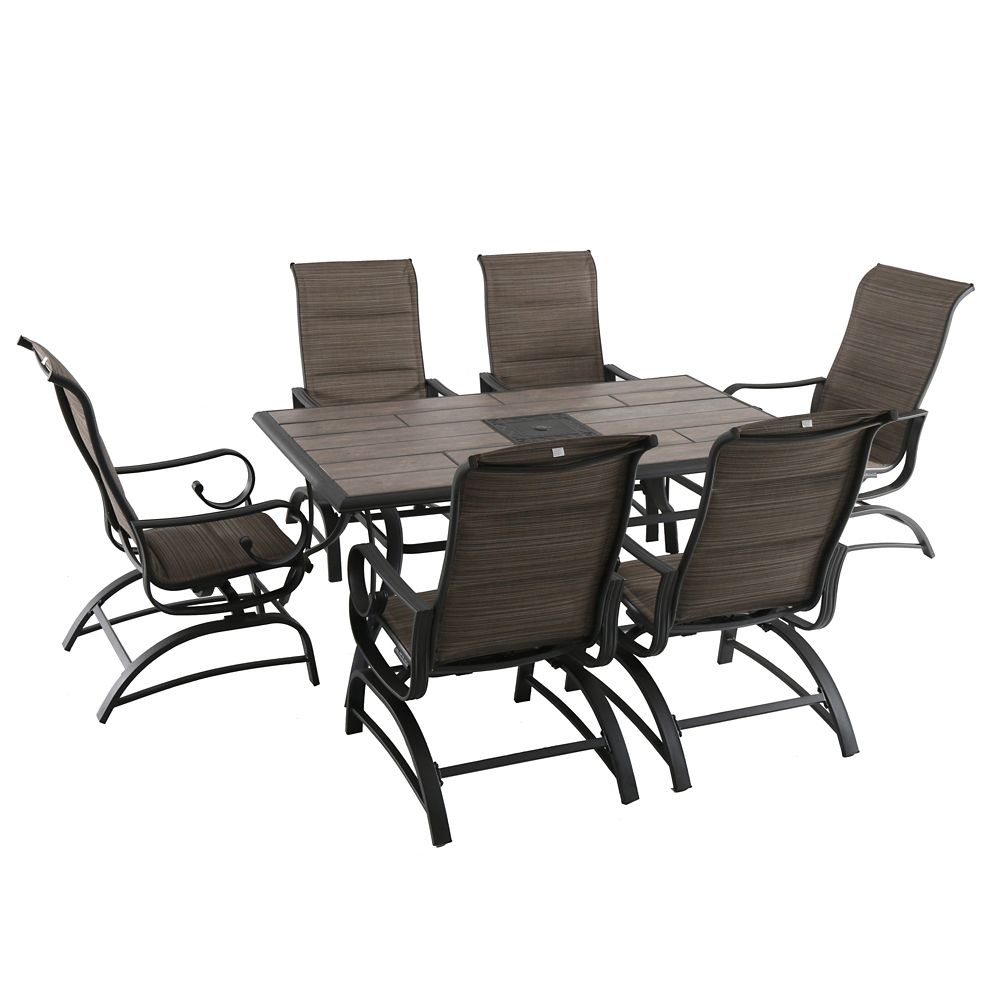 Royal Garden River Oak 7-Patio Padded Sling Patio Dining Set