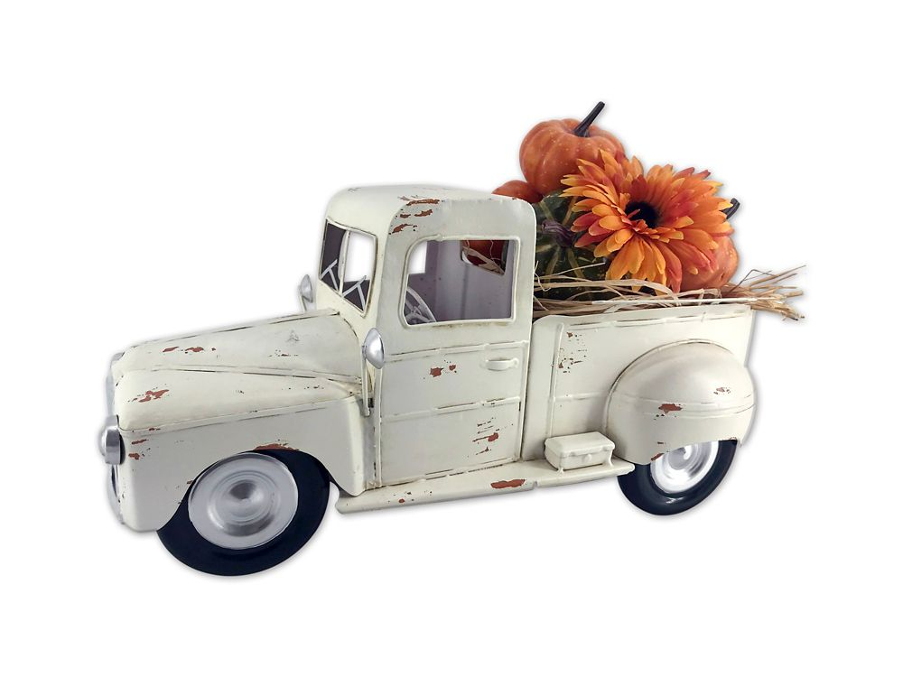 HAR Vintage Pickup Truck in White with Pumpkins