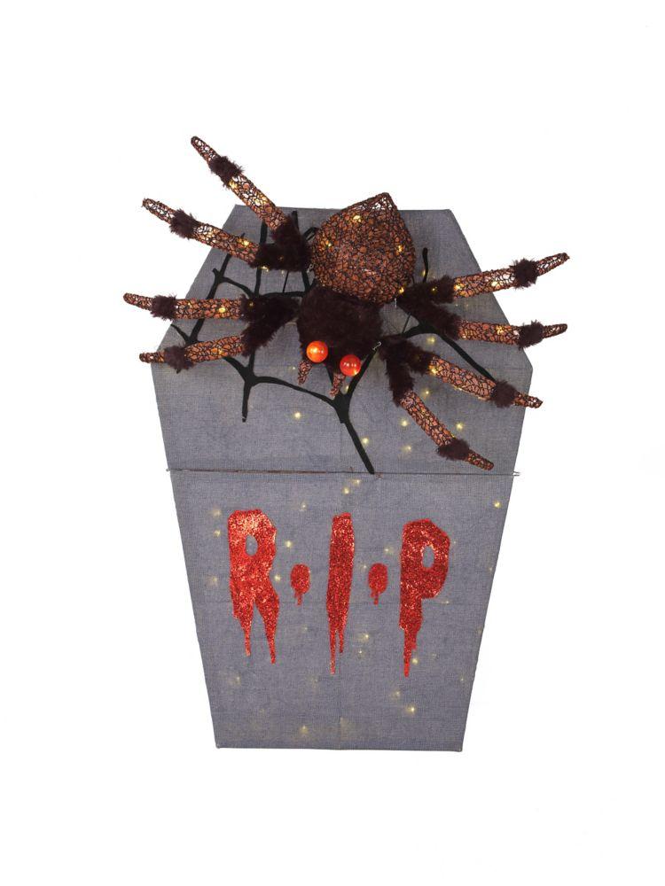 HAL RIP Spider Tombstone Halloween Decoration