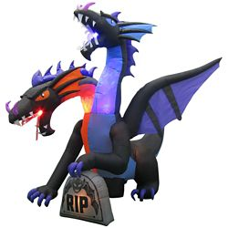 HAL Airblown Inflatable 2-Headed Ice/Fire Dragon Outdoor Halloween Decoration
