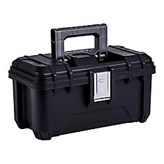 16-inch Plastic Tool Box with Metal Latches in Black