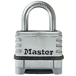 Master Lock Cadenas à combinaison personnalisable en acier inoxydable de 57mm de largeur avec arceau de 27mm