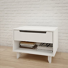 Table de nuit 1 tiroir Aura, Blanc