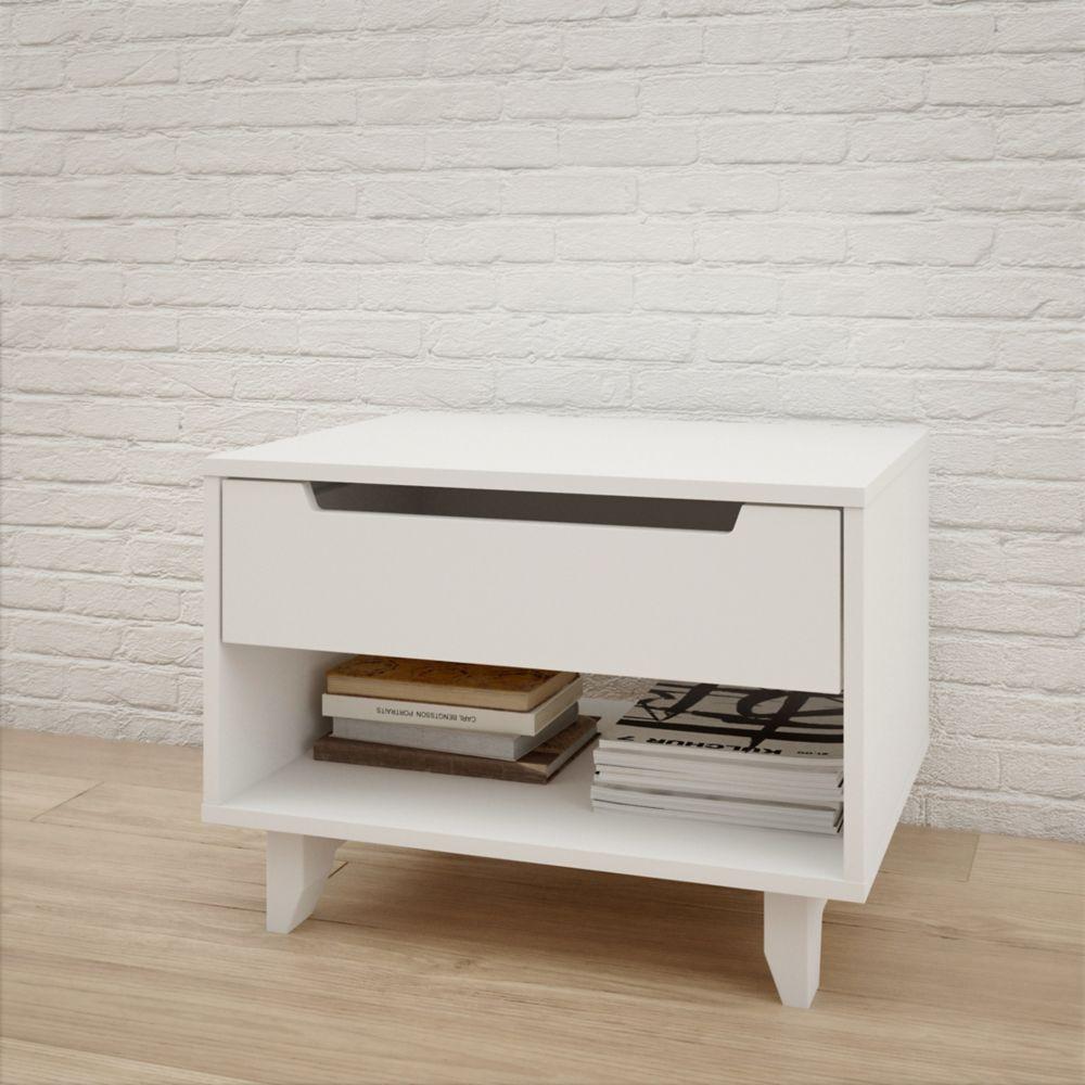 Nexera Aura 1 Drawer Nightstand, White