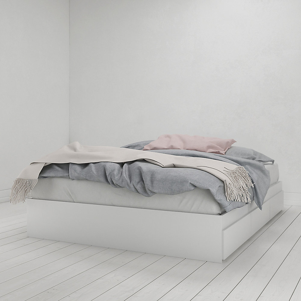 Queen Size Bed.Aura 3 Drawer Queen Size Bed White