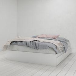 Nexera Lit Queen Aura 3 tiroirs, Blanc
