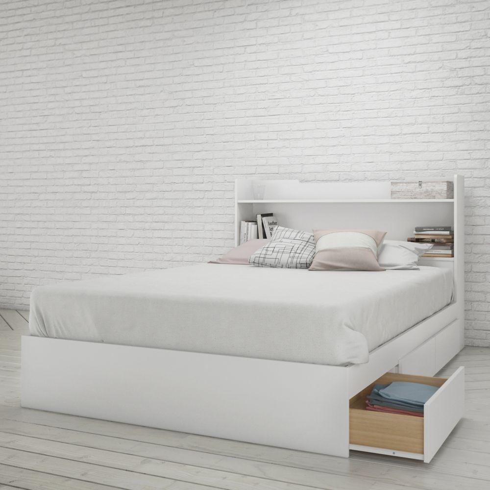 Nexera Aura Full Size Headboard and Storage Bed, White