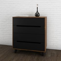 Nexera Nocce 4-Drawer Chest, Truffle & Black
