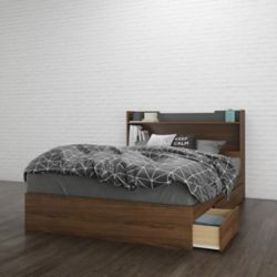 Nexera Alibi Full Size Headboard and Storage Bed, Walnut and Charcoal