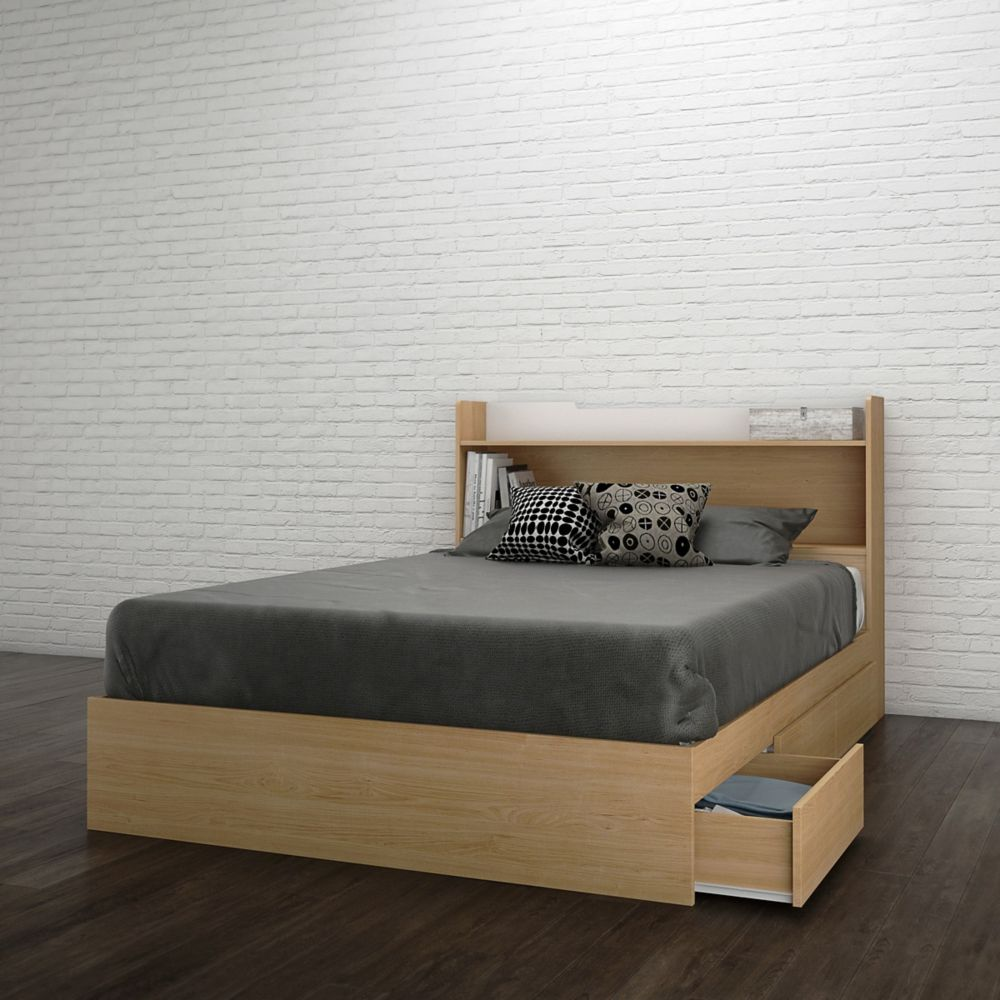 Nexera Nordik Full Size Headboard and Storage Bed, White and Natural Maple