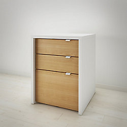 Nexera Chrono 3-Drawer Filing Cabinet in White and Natural Maple