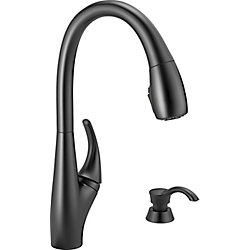 Delta Deluca Single Handle Pull-Down Kitchen Faucet with Soap Dispenser and ShieldSpray in Matte Black