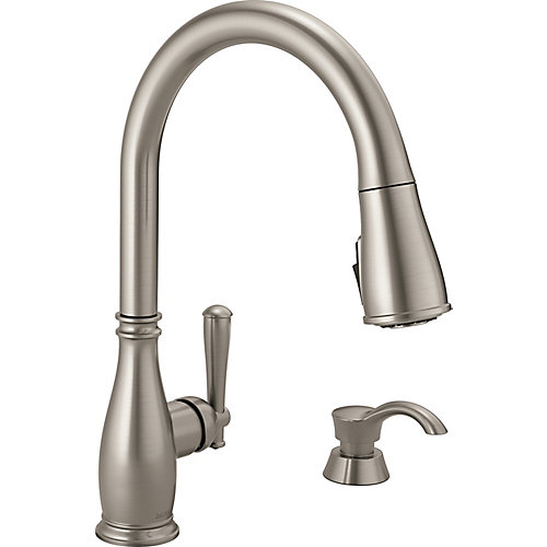 Charmaine Single Handle Pull-Down Kitchen Faucet with Soap Dispenser & ShieldSpray in Stainless Steel