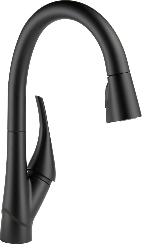Delta Esque Single Handle Pull-Down Kitchen Faucet Featuring ShieldSpray Technology, Matte Black