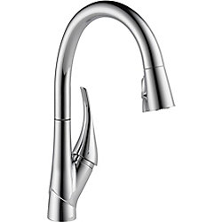 Delta Esque Single Handle Pull-Down Kitchen Faucet Featuring ShieldSpray Technology, Chrome