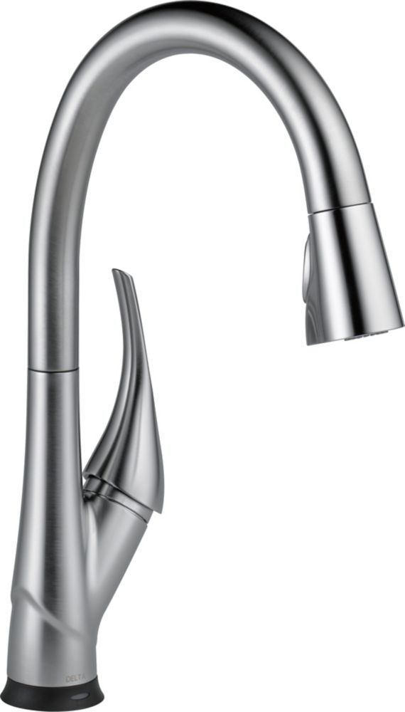 Delta Esque Single-Handle Pull-Down Sprayer Kitchen Faucet with Touch2O and ShieldSpray Technology in Arctic Stainless
