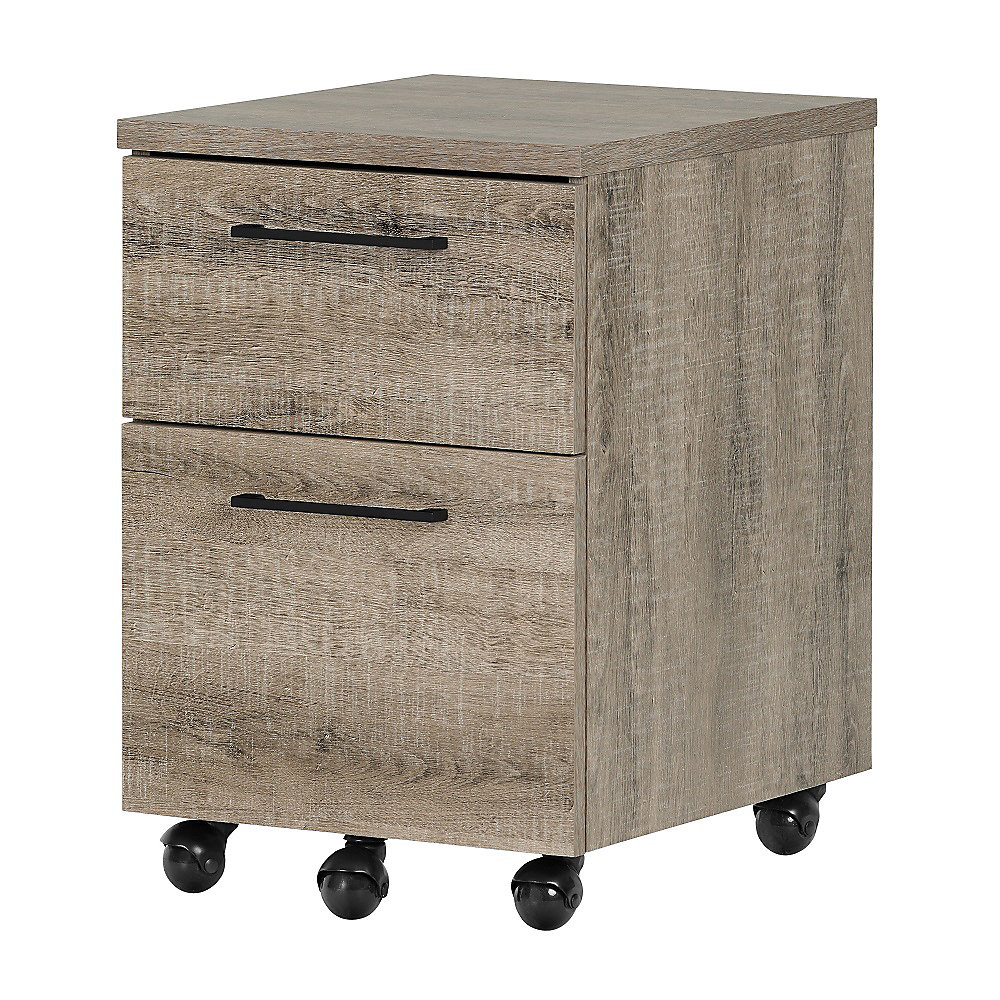 Munich 2-Drawer Mobile File Cabinet, Weathered Oak