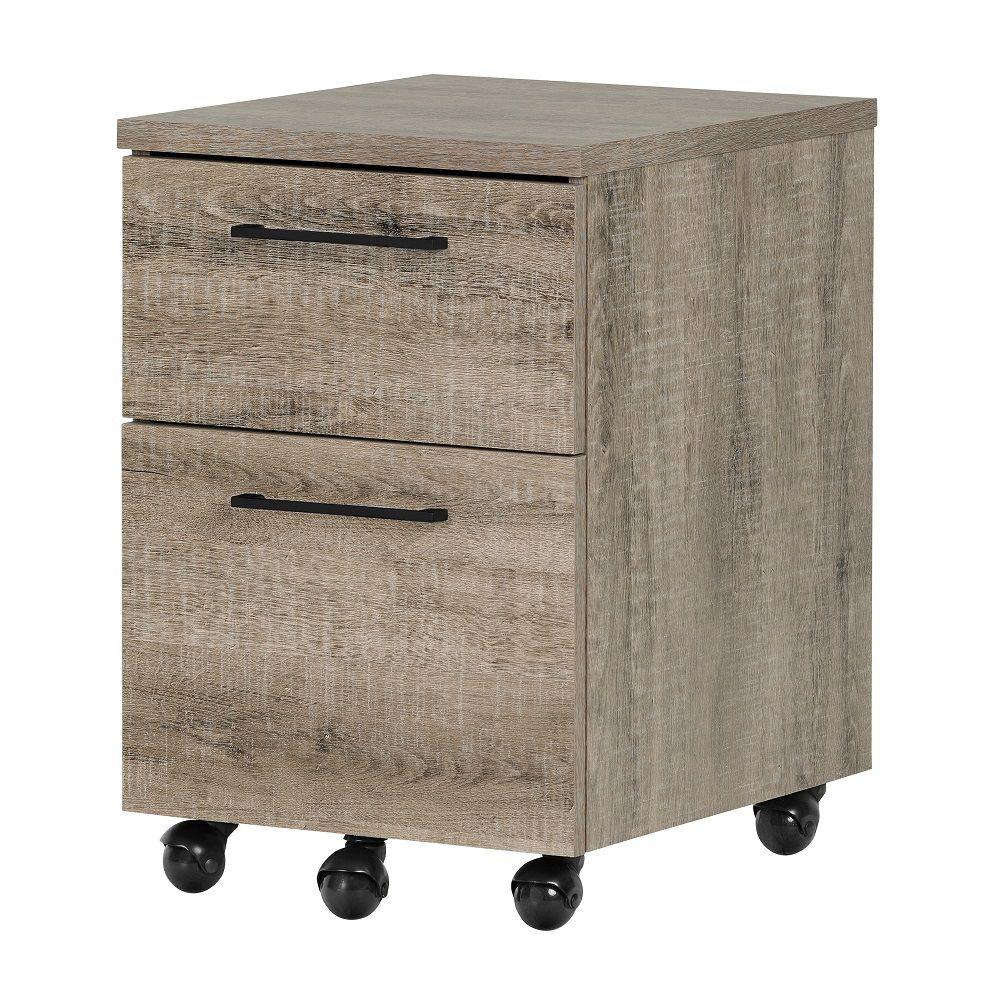 South Shore Munich 2-Drawer Mobile File Cabinet, Weathered Oak