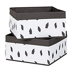 Storit White/Grey Baskets Feathers Print, 2-Pack