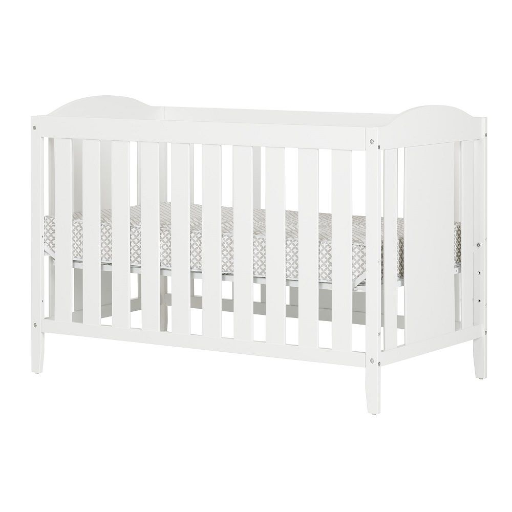South Shore Angel Pure White Crib with Toddler rail, and Mattress
