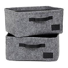 Storit Gray Small Woven Felt Baskets, 2-Pack