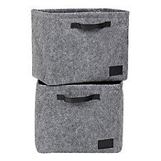 Storit Gray Large Woven Felt Baskets, 2-Pack