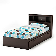 Spark Twin Storage Bed and Bookcase Headboard, Chocolate