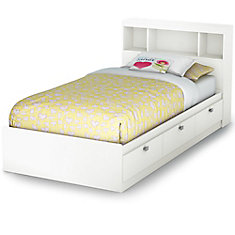 Spark Twin Storage Bed and Bookcase Headboard, Pure White