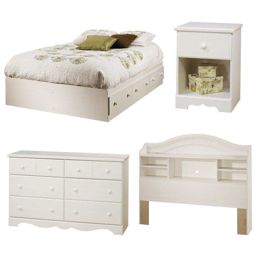 South shore summer breeze 4 piece bedroom set full white - South shore 4 piece bedroom furniture set ...
