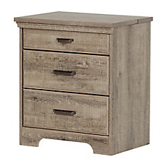 Table de chevet avec tiroirs et station de chargement Versa, Chêne vieilli