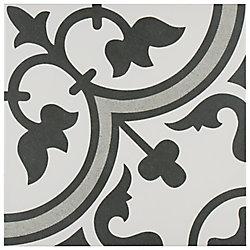 Carreau en porcelaine pour sol/mur Arte gris 9 3/4 po x 9 3/4 po (11,11 pi2/boîte)