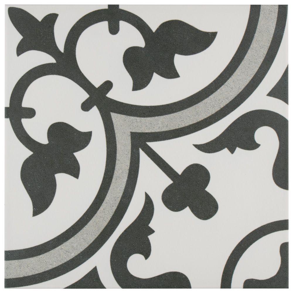 Merola Tile Arte Grey 9-3/4-inch x 9-3/4-inch Porcelain Floor and Wall Tile (11.11 sq. ft. / case)