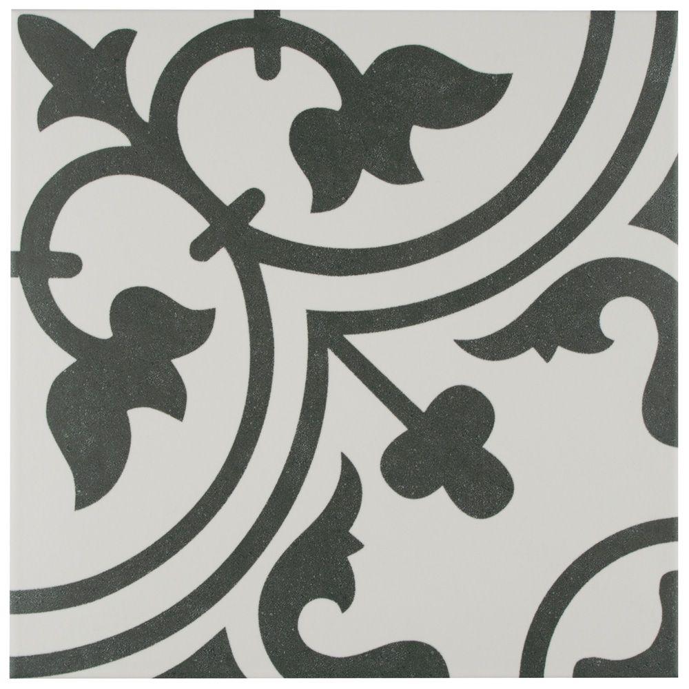 Merola Tile Arte White 9-3/4-inch x 9-3/4-inch Porcelain Floor and Wall Tile (11.11 sq. ft. / case)