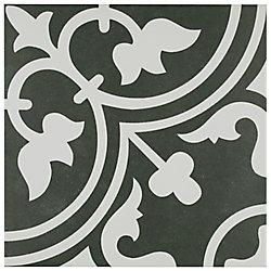Carreau en porcelaine pour sol/mur Arte noir 9 3/4 po x 9 3/4 po (11,11 pi2/boîte)