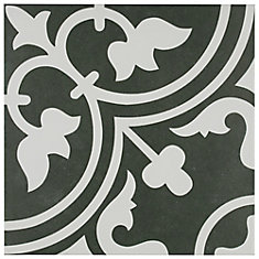 Arte Black 9-3/4-inch x 9-3/4-inch Porcelain Floor and Wall Tile (11.11 sq. ft. / case)