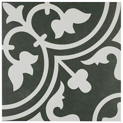 Merola Tile Arte Black 9-3/4-inch x 9-3/4-inch Porcelain Floor and Wall Tile (11.11 sq. ft. / case)