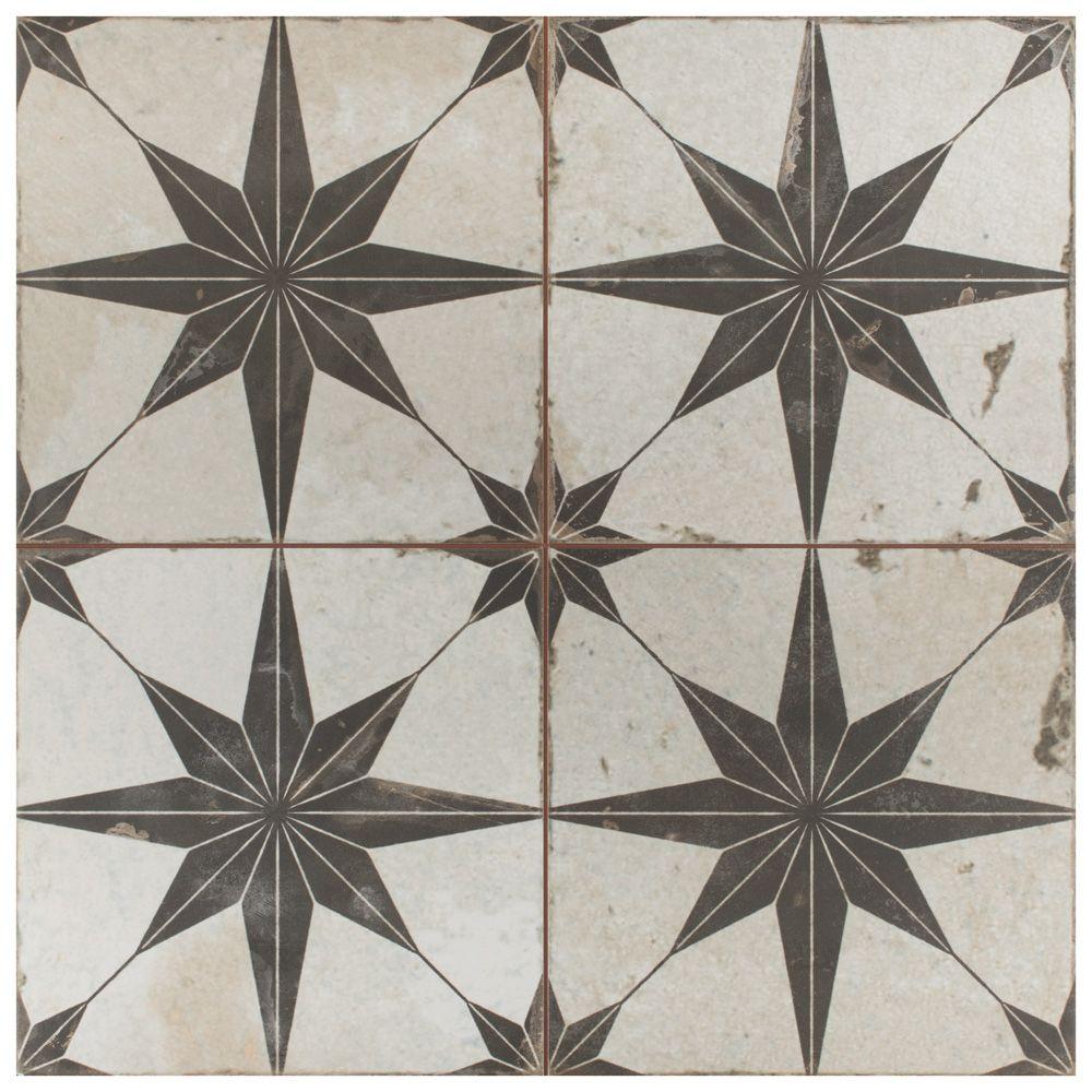 Merola Tile Kings Star Nero 17 5 8 Inch