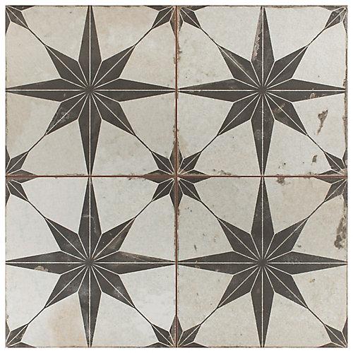 Carreaux de sols et murs, 17 5/8 po x 17 5/8 po, céramique, Kings Star Nero, 11,02 pi2/palette