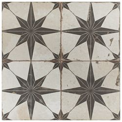 Merola Tile Kings Star Nero 17 5/8-inch x 17 5/8-inch Ceramic Floor and Wall Tile (11.02 sq. ft. / case)