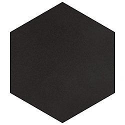 Carreau en porcelaine pour sol/mur Textile Hex noir 8 5/8 po x 9 7/8 po (11,56 pi2/boîte)