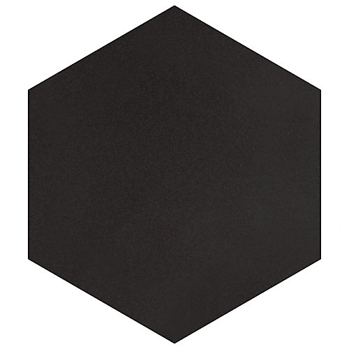 Textile Hex Black 8-5/8-inch x 9-7/8-inch Porcelain Floor and Wall Tile (11.56 sq. ft. / case)