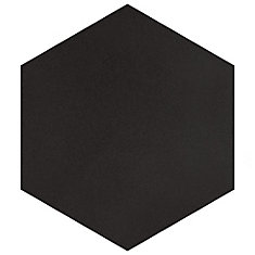 Textile Hex Black 8 5/8-inch x 9 7/8-inch Porcelain Floor and Wall Tile (11.19 sq. ft. / case)
