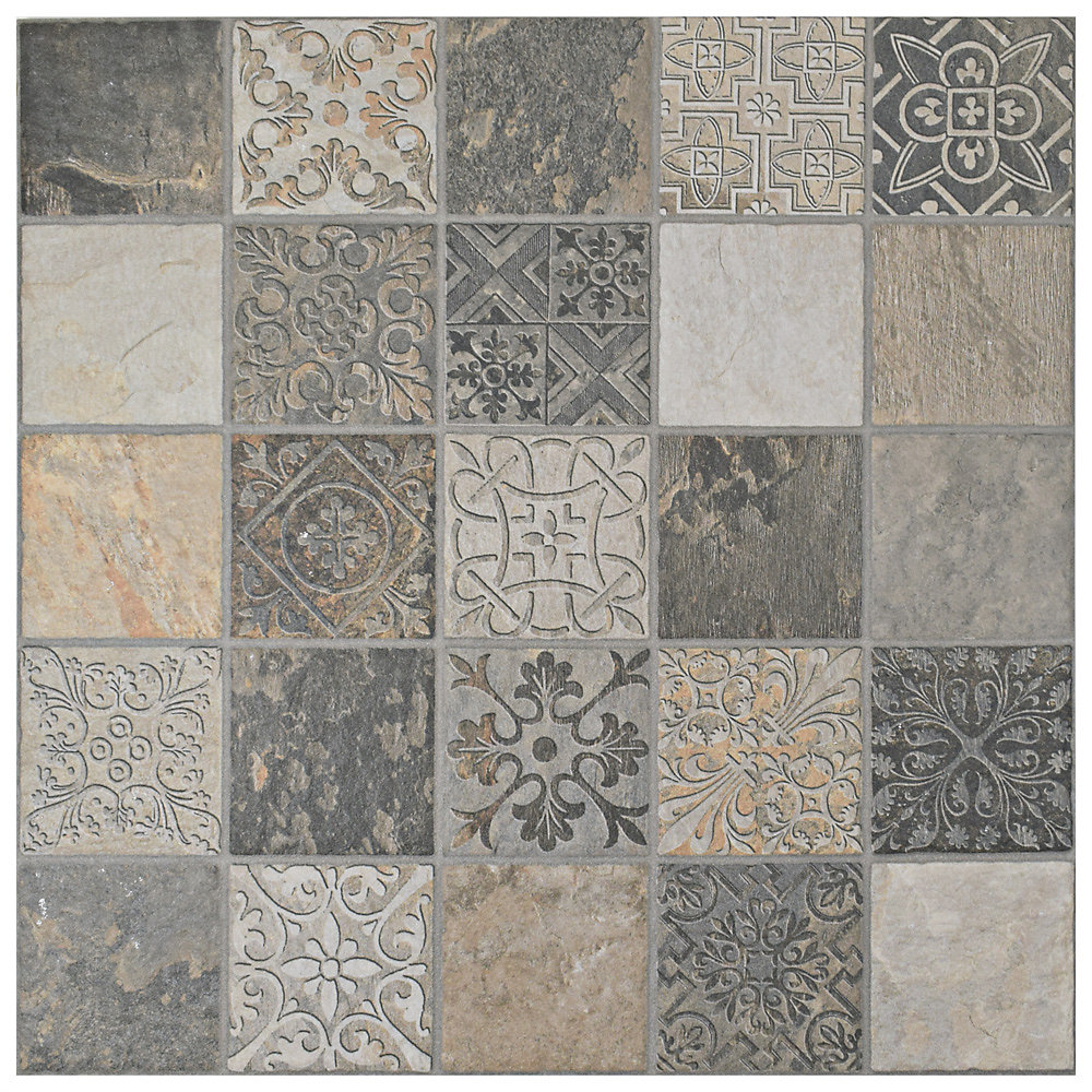 Merola Tile Deco Calzada Ardesia 17-1/2-inch x 17-1/2-inch Porcelain ...