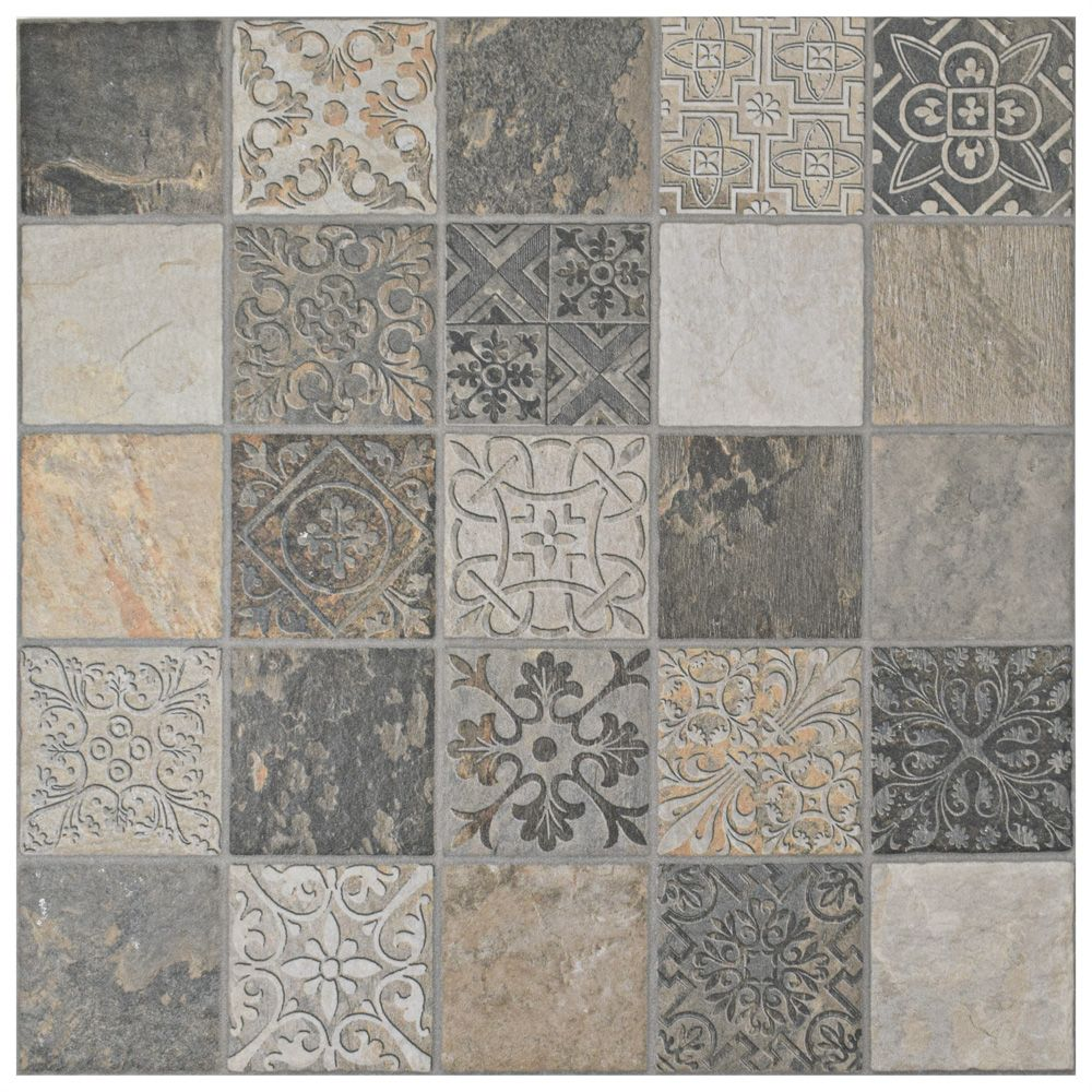 Merola Tile Deco Calzada Ardesia 17 1/2-inch x 17 1/2-inch Porcelain Floor and Wall Tile (11 sq. ft. / case)