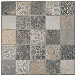 Merola Tile Carreau en porcelaine pour sol/mur Deco Calzada Ardesia 17 1/2 po x 17 1/2 po (10,94 pi2/boîte)