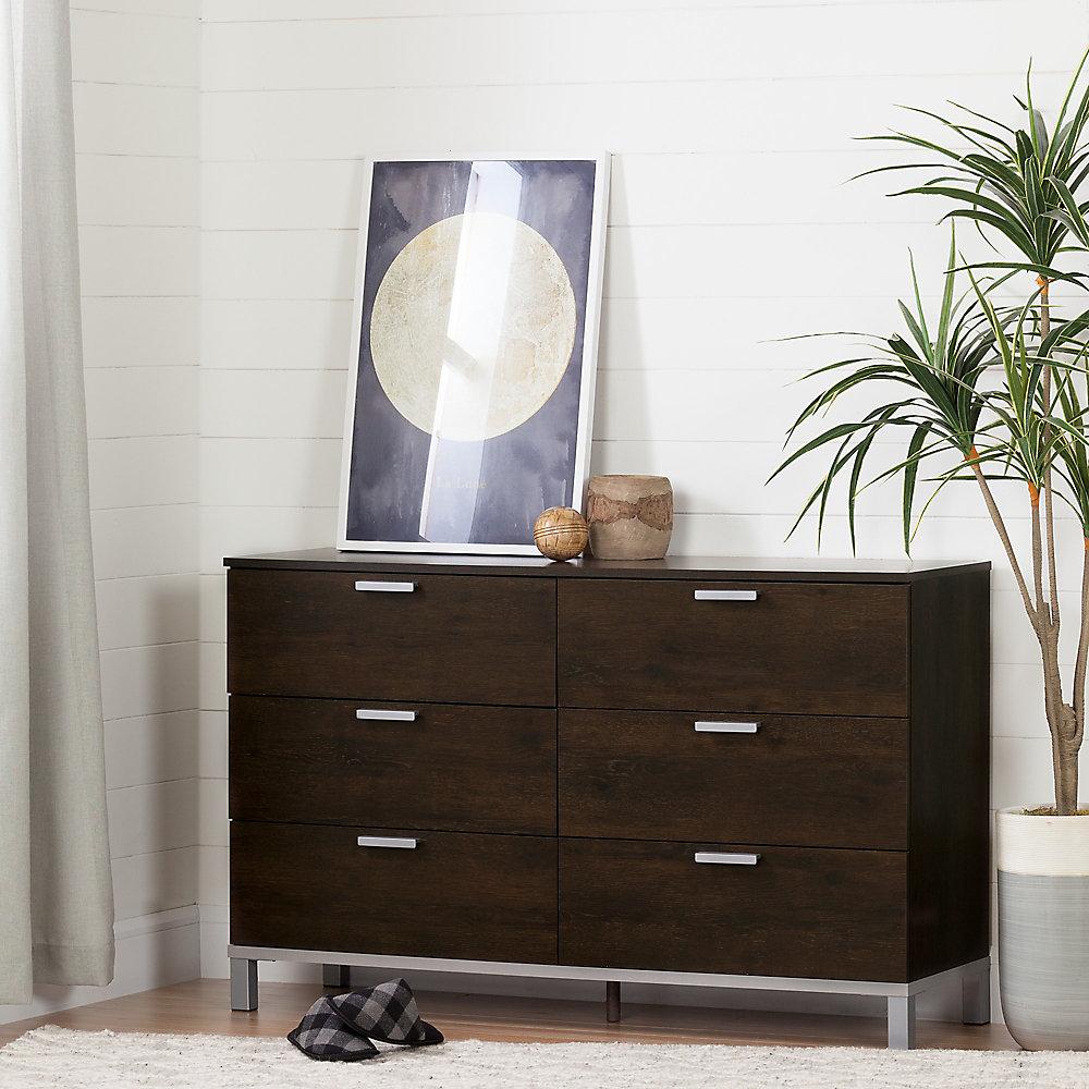 Flexible 6-Drawer Double Dresser, Brown Oak