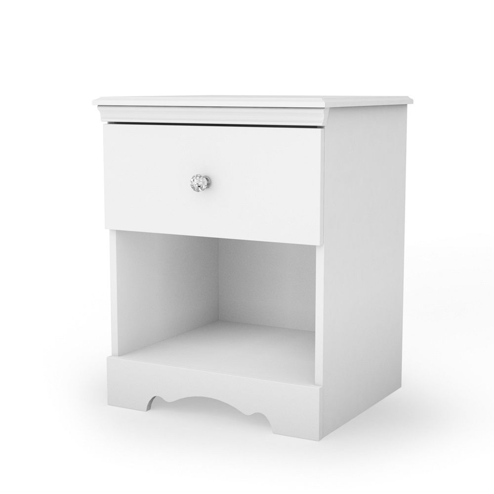 South Shore Crystal 1-Drawer Nightstand, Pure White