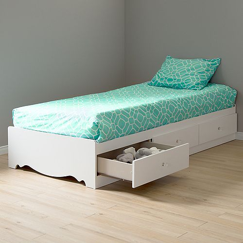 South Shore Crystal Twin Mates Bed (39'') with 3 Drawers, Pure White